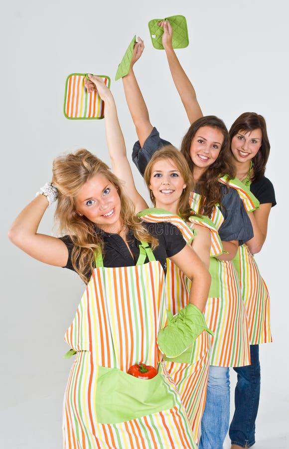 4 dziewczyny kucbarskiej przygotowaną obrazy royalty free