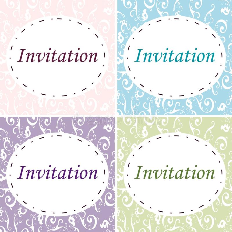 4 elegante Einladungen lizenzfreie abbildung