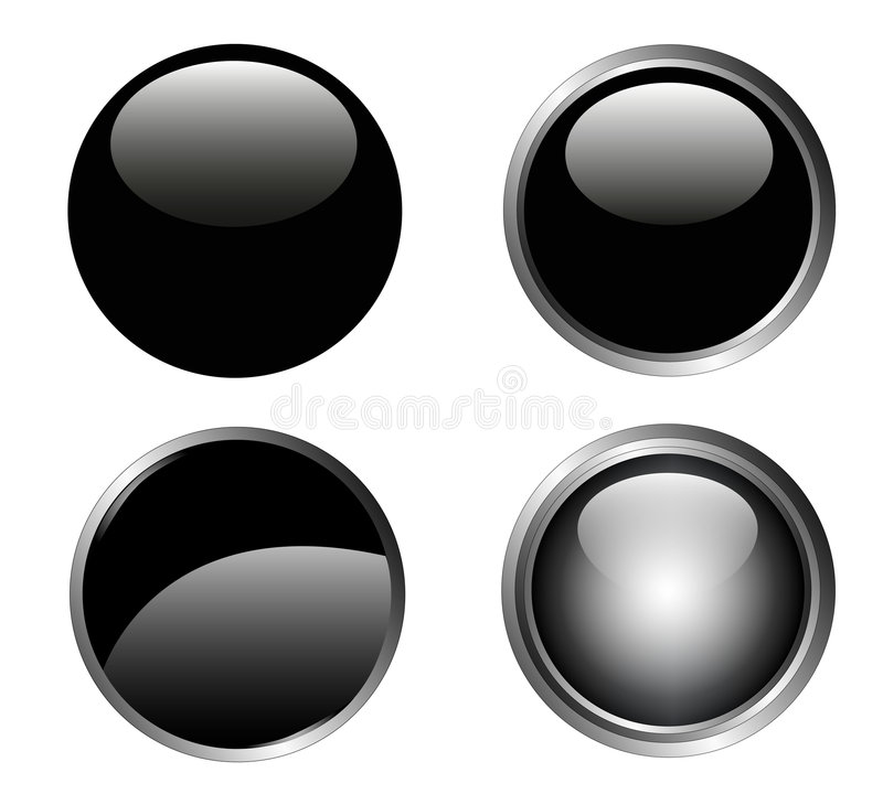 4 elegante Zwarte Knopen vector illustratie