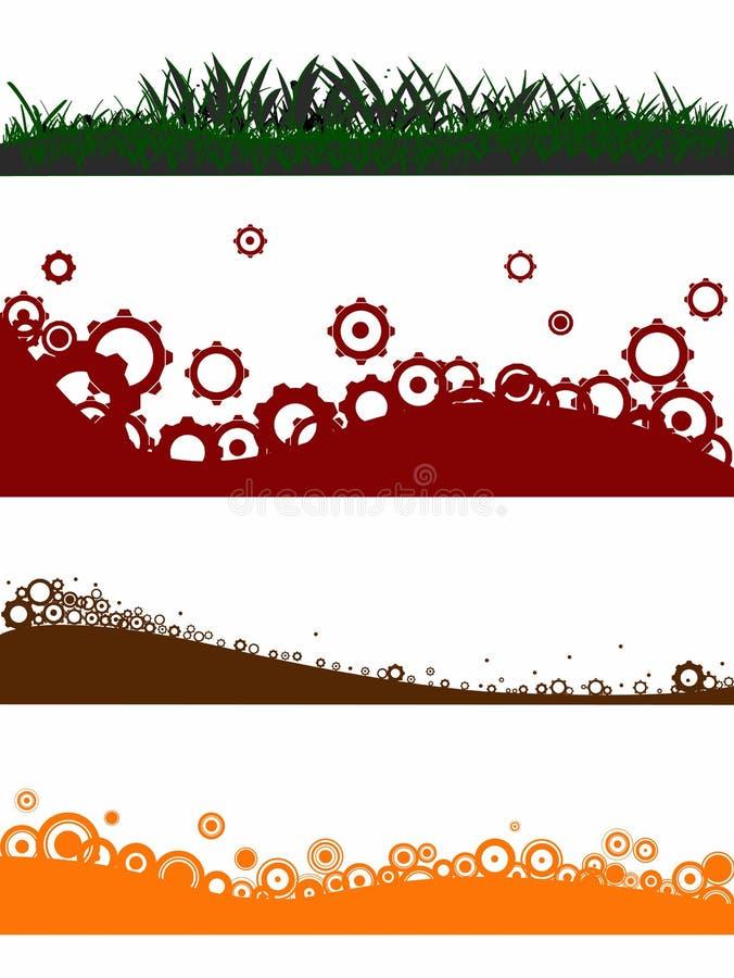 4 elementi di paesaggio illustrazione vettoriale