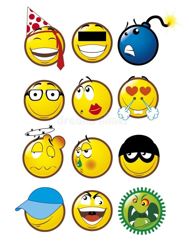 4 emoticons royaltyfri illustrationer