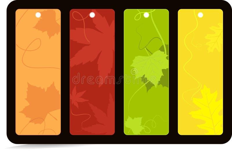 4 färgade set etiketter för höstbaner ljust stock illustrationer