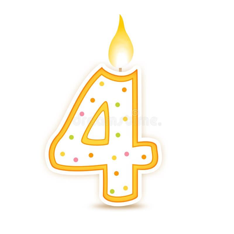 4 födelsedag stearinljus royaltyfri illustrationer