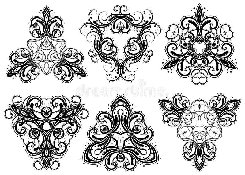 4 fantasiprydnadar royaltyfri illustrationer
