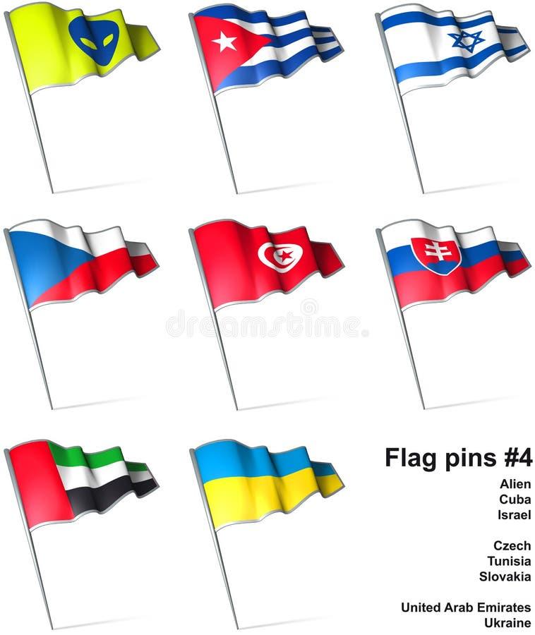 4 flaggastift vektor illustrationer