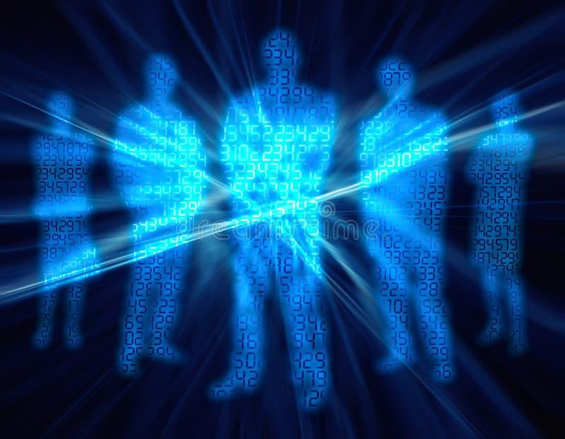 4 folk för binär siffra stock illustrationer