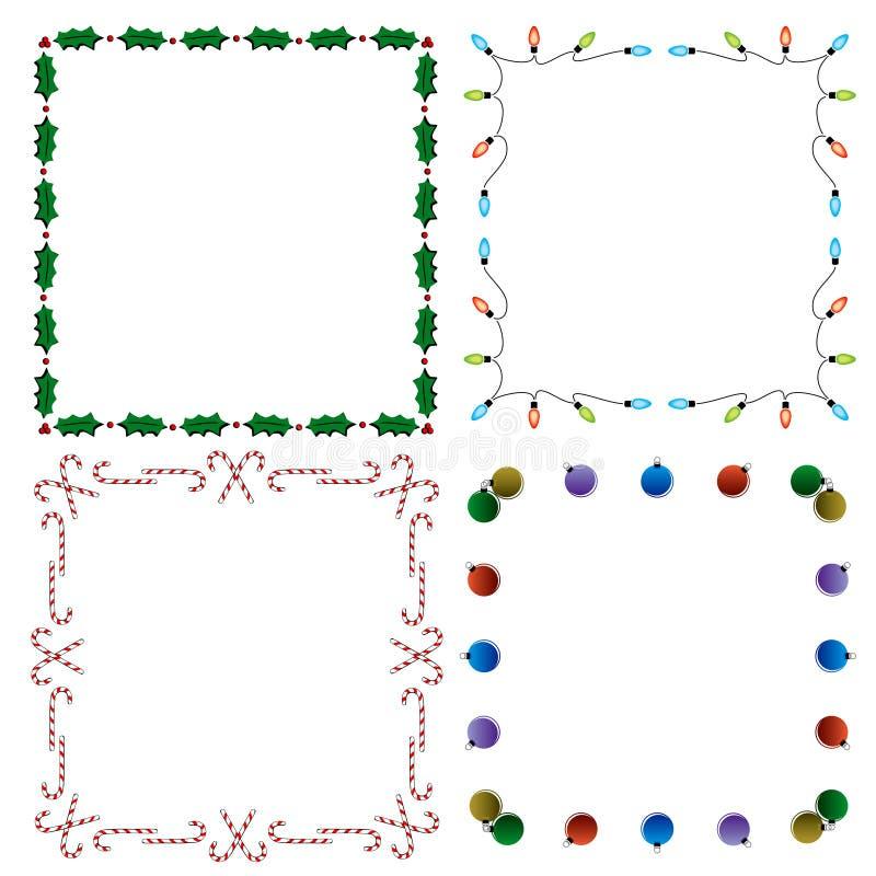 4 fronteras decorativas del día de fiesta fotos de archivo