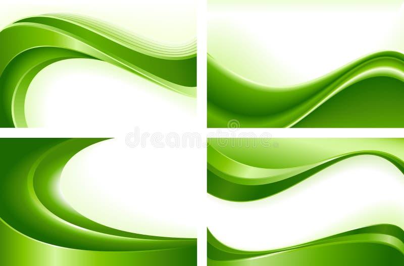 4 fundos abstratos da onda verde ilustração do vetor