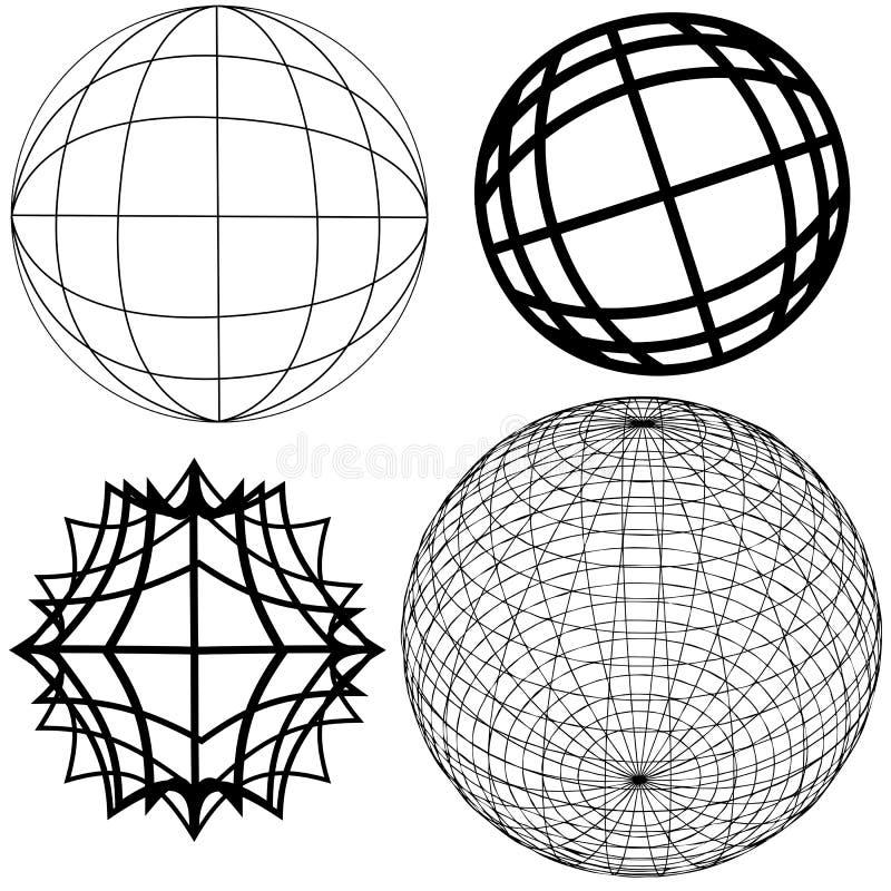 4 globe elementów royalty ilustracja