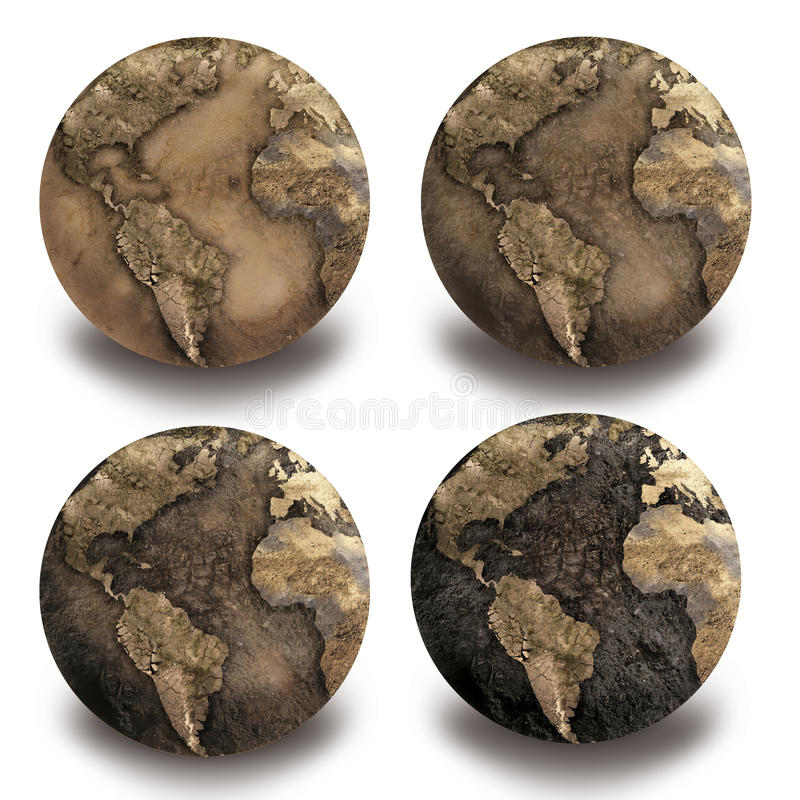 4 globes de Dryed photos stock