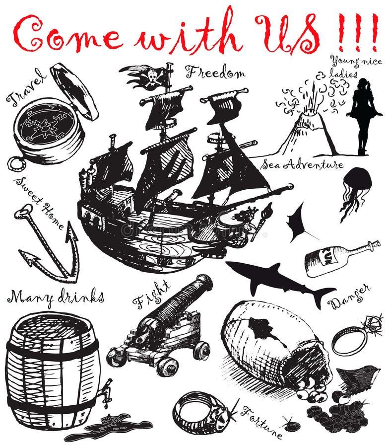 4 grands pirattes de ramassage illustration de vecteur