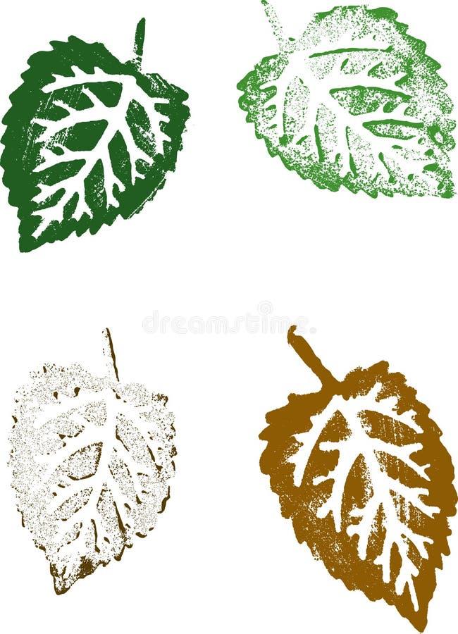 4 Grunge Blätter stock abbildung