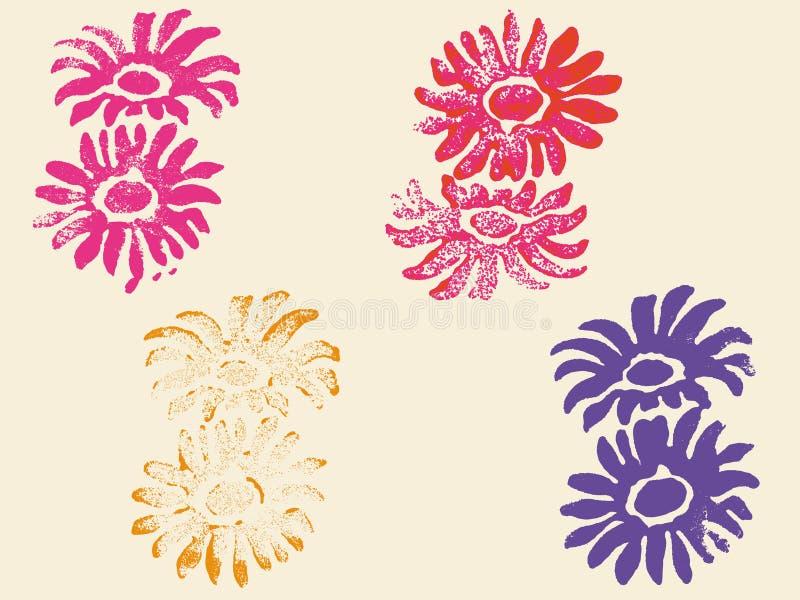 4 Grunge Blumen-Stempel vektor abbildung