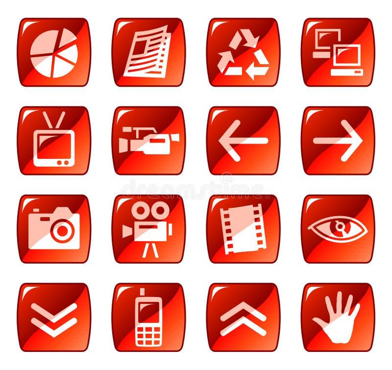 4 guzików ikon czerwieni sieć