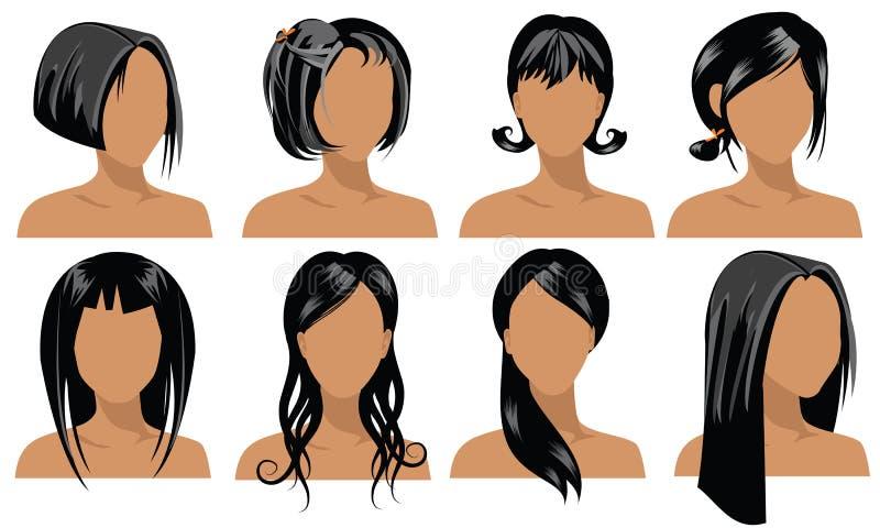 4 hårstilar royaltyfri illustrationer