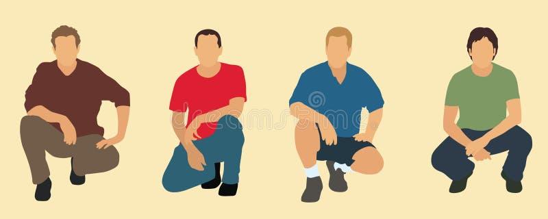 4 hommes illustration stock