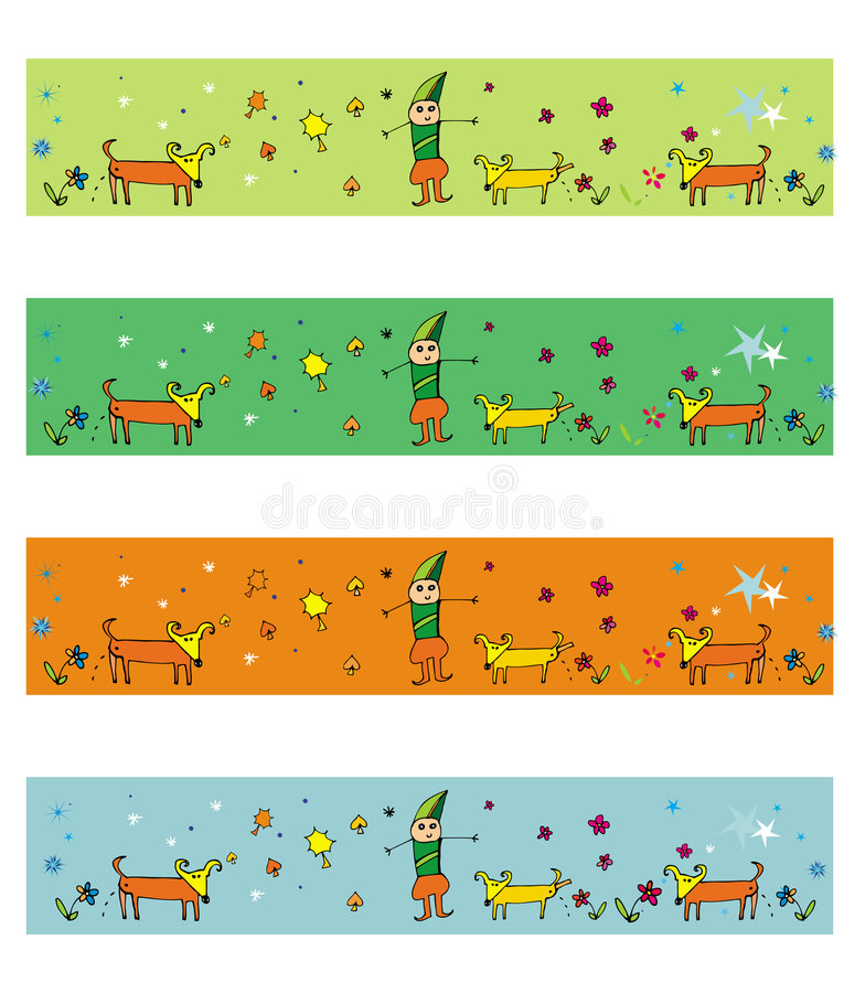 4 hundillustrationsäsonger vektor illustrationer