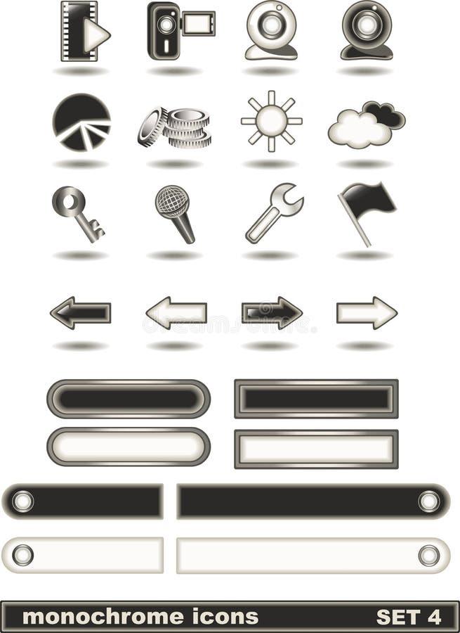 4 ikon monochromu set obraz stock