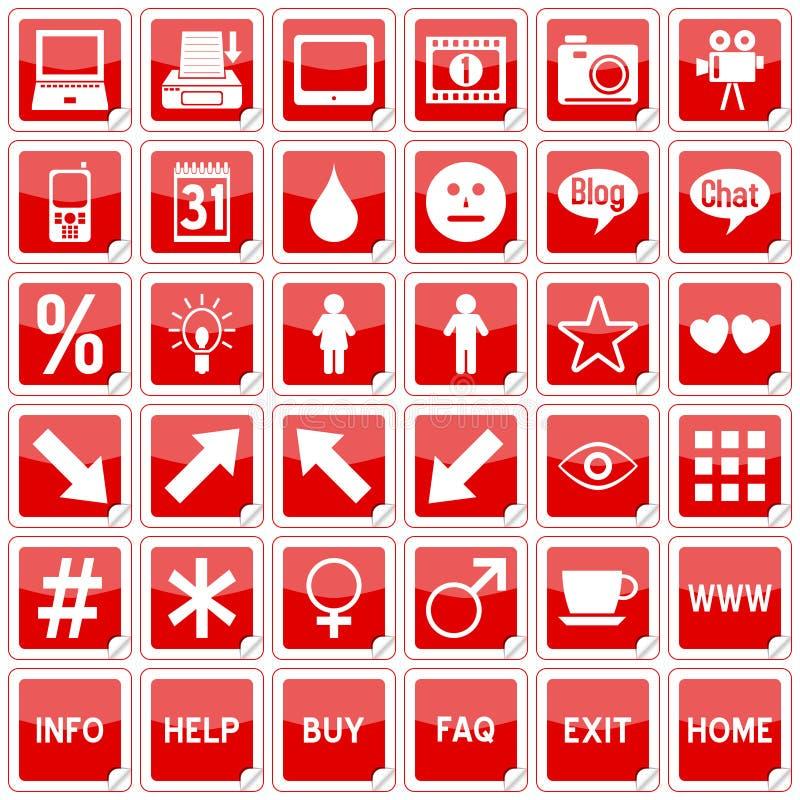 4 ikon plac czerwony majcheru royalty ilustracja