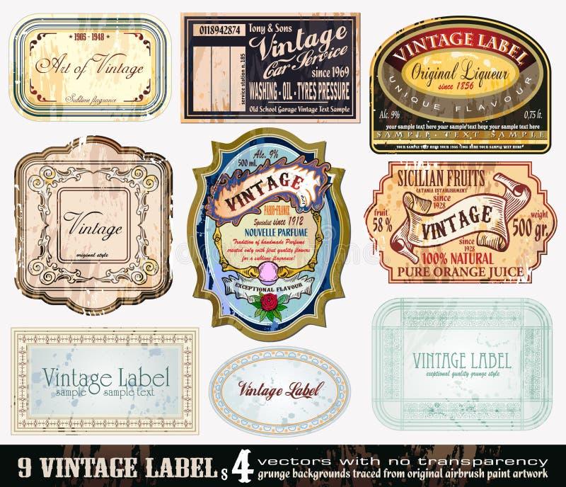 4 inkasowej etykietki ustawiają rocznika ilustracji