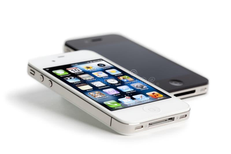 4 jabłczanego czarny iphone odosobniony biel obraz royalty free