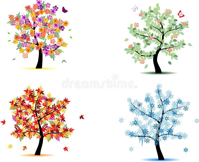 4 Jahreszeitbäume stock abbildung