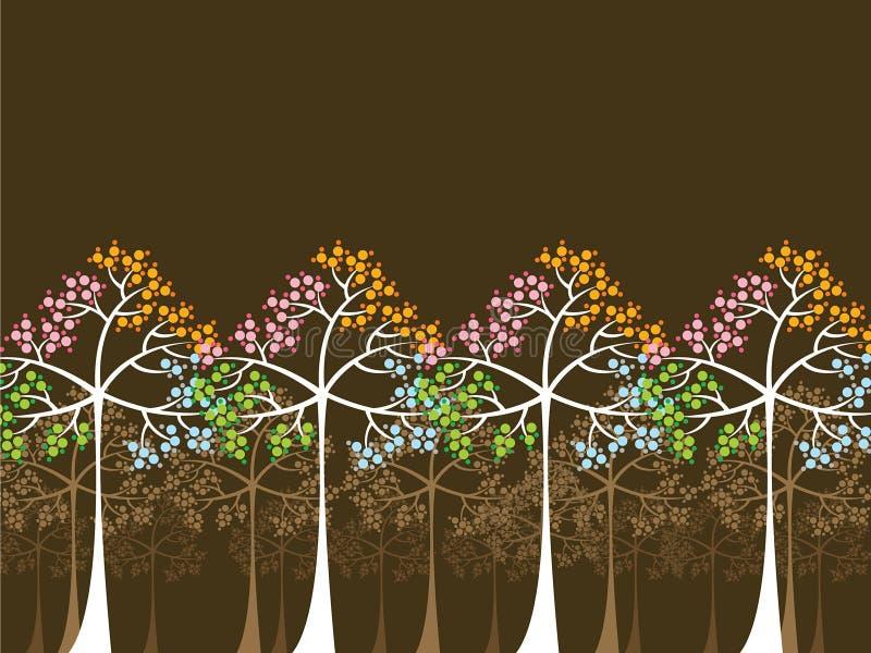 4 Jahreszeitbäume auf Braun lizenzfreie abbildung
