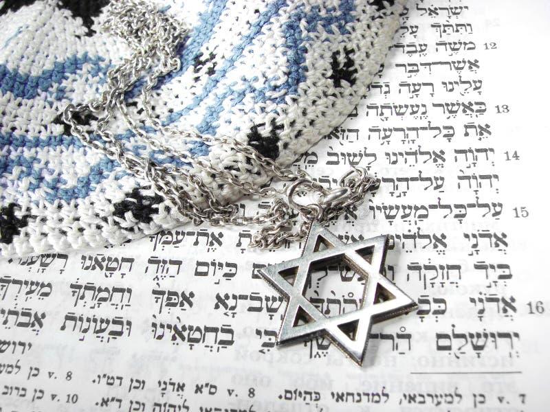 4 judiska religiösa symboler för closeup royaltyfri foto