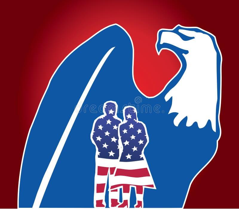 4 juillet - Jour de la Déclaration d'Indépendance : Citoyens et aigle illustration de vecteur