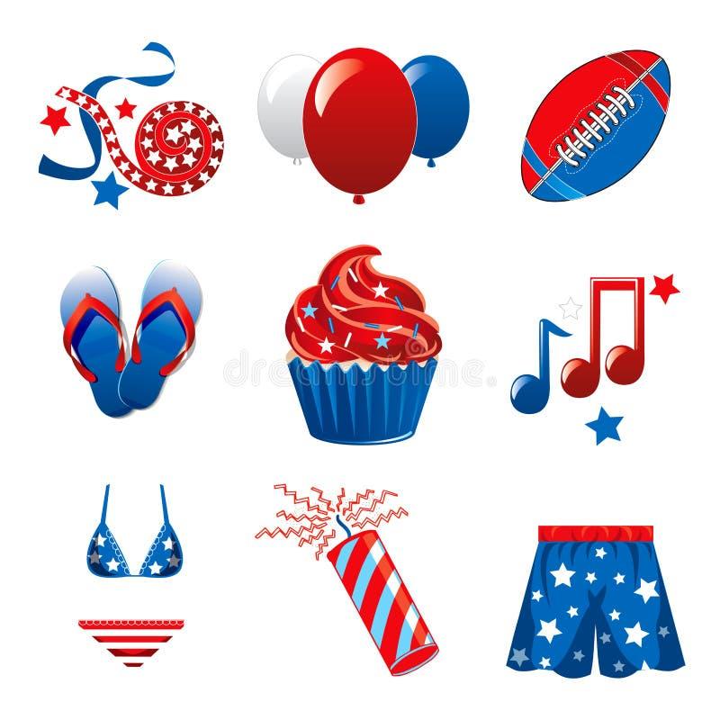 4. Juli-Party-Ikonen stock abbildung