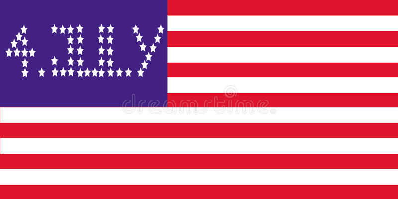 4. july flag. Usa flag with 4.july congratulation made of stars stock illustration