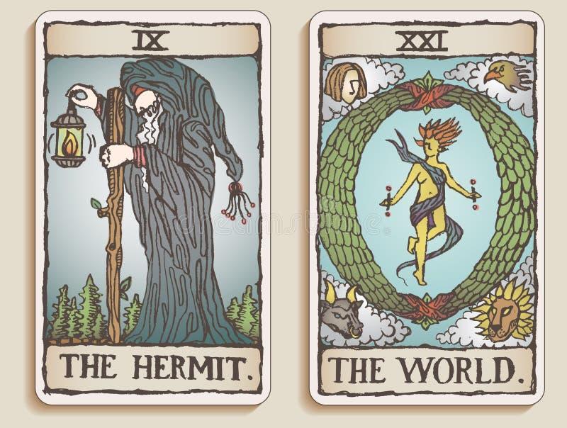 4 kart tarot dwa v royalty ilustracja
