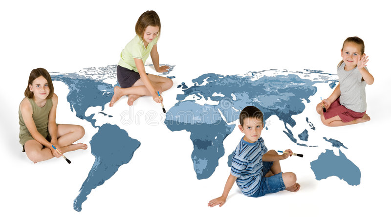 4 kids painting. Kids painting the world isolated on white royalty free stock photo
