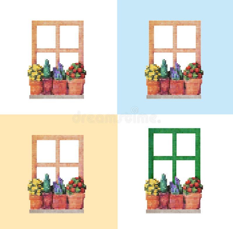 4 kinds of window stock photos
