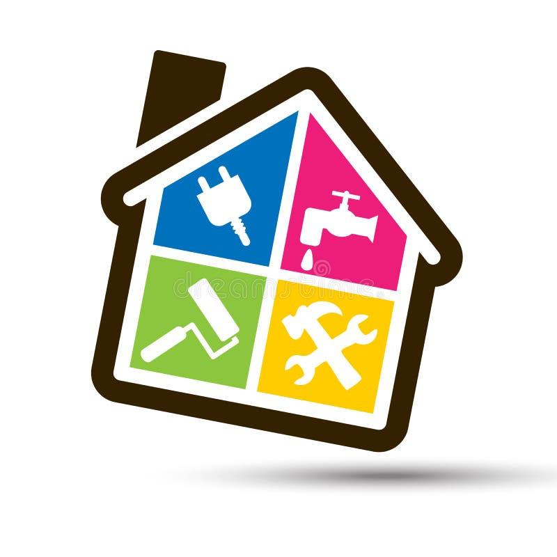 4 kleurenhuis voor huisbricolage. vector illustratie