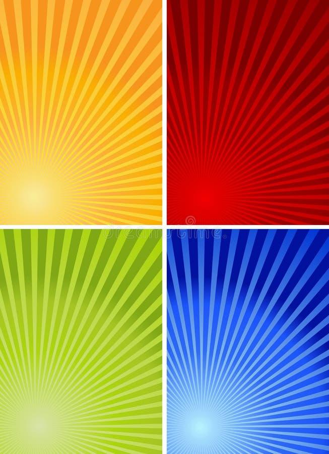 4 kleurrijke achtergronden royalty-vrije illustratie