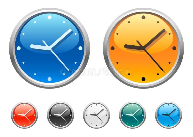 4 klockasymboler stock illustrationer