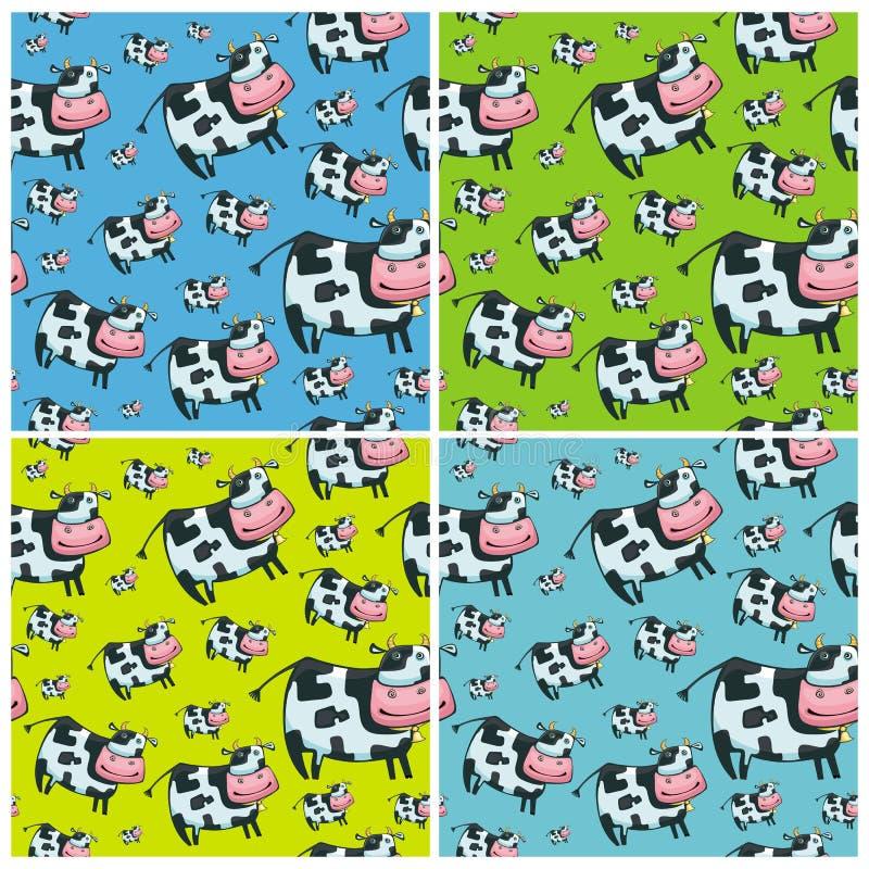 4 krowy śliczny życzliwy deseniowy set ilustracji