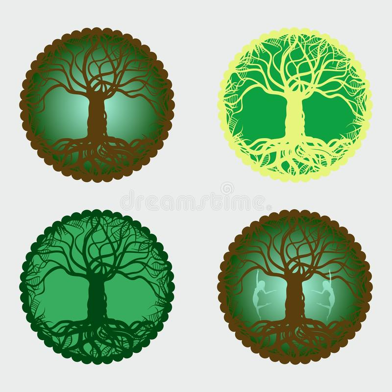 Free 4 Magical Tree Of Life Medallions Stock Image - 50420811