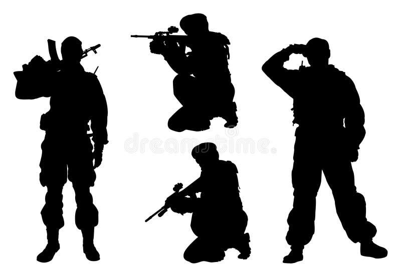 4 manmilitärsilhouettes vektor illustrationer