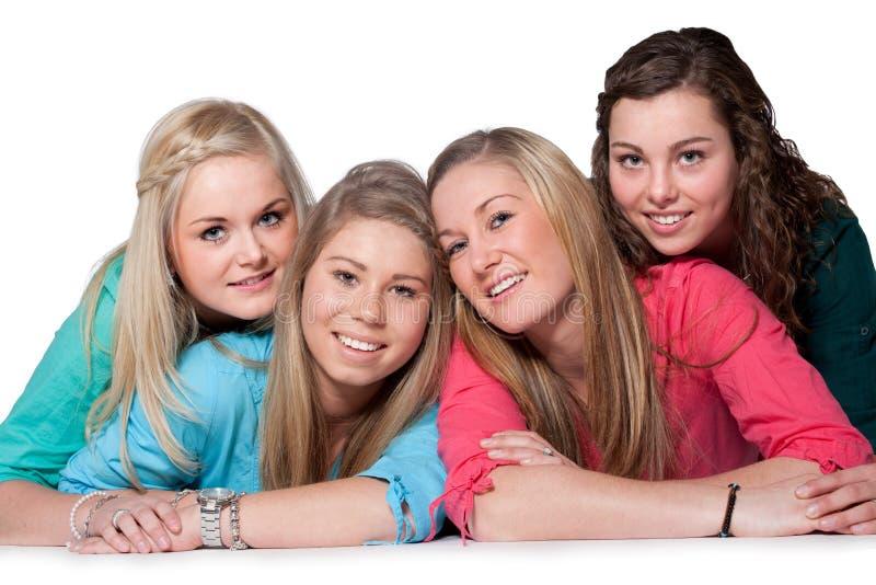 4 meninas felizes fotos de stock royalty free