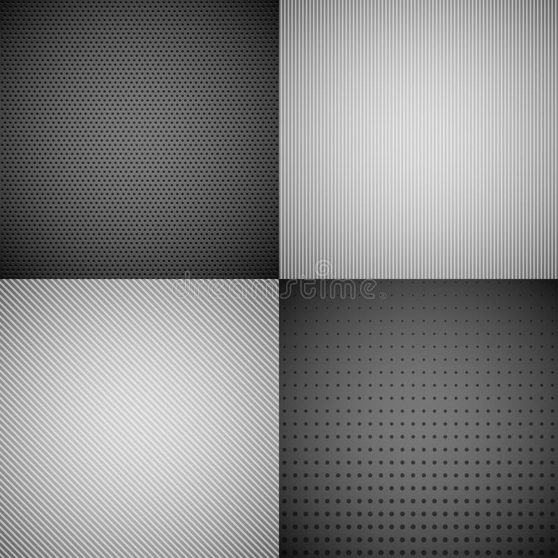 4 Metal Texture Backgrounds. vector illustration
