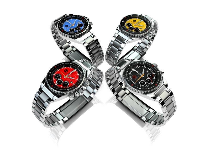 4 montres-bracelet des hommes illustration stock