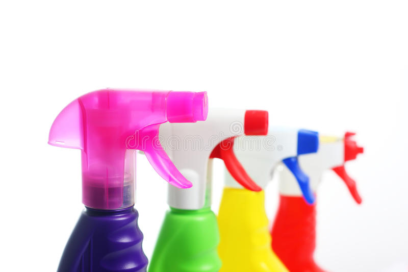 4 nozzles of detergents. In plastic bottles stock photo