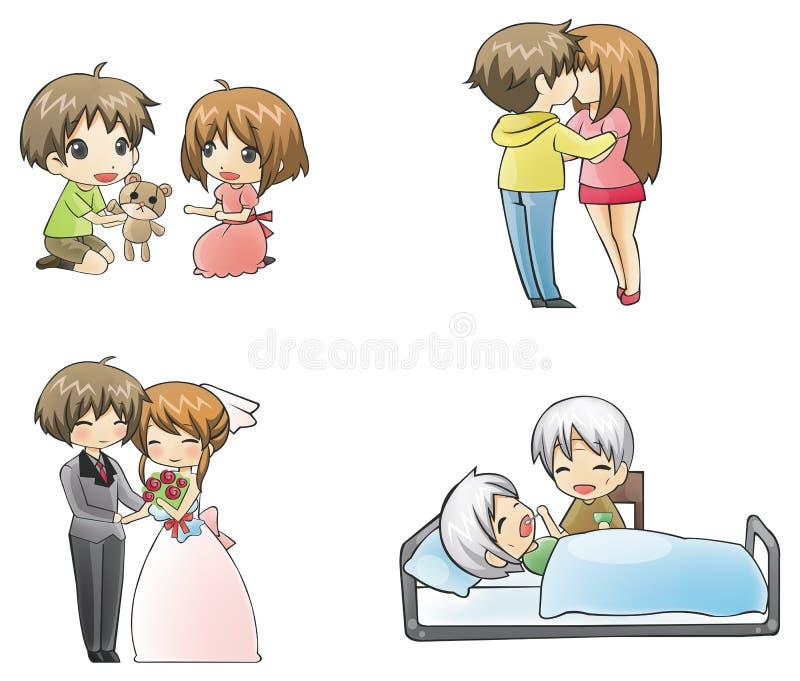4 perioder av förälskelse: barn-teen-vuxen människa-elder royaltyfri illustrationer