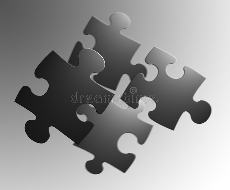 4 pieces of a jigsaw royalty free illustration