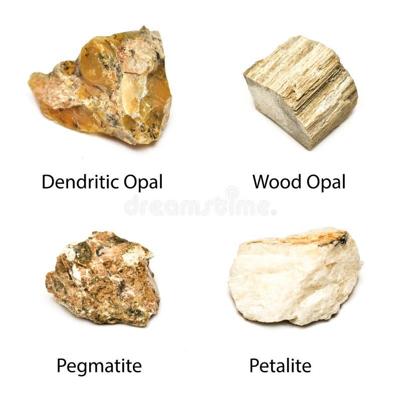 4 pietre dei minerali immagini stock libere da diritti