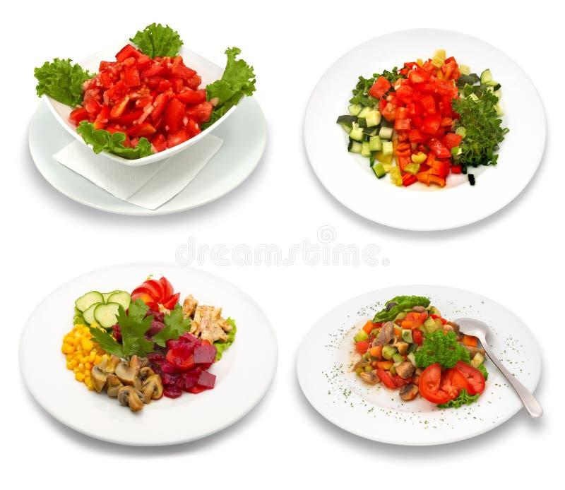 4 pratos da salada fotos de stock royalty free