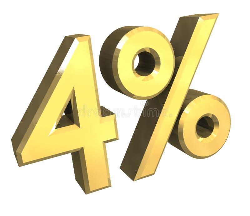 4 Prozent im Gold (3D) vektor abbildung