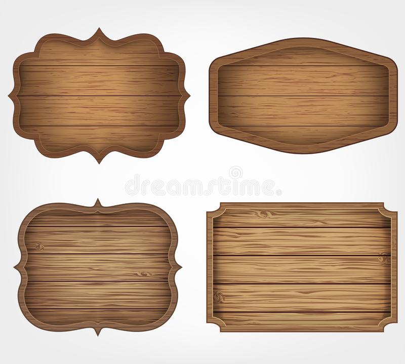 Free 4 Realistic Wooden Signs Set. Decoration Elements. Vintage Style. Vector Royalty Free Stock Photo - 103137705